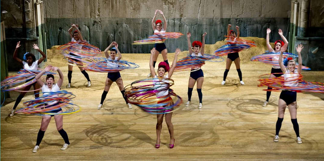 Photograph of the Majorettes hooping for the World Record.